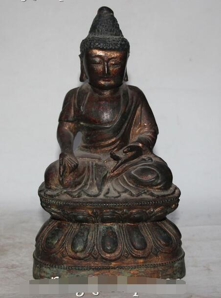 10 Eski Tibet Budizmi Mor Bronz Shakyamuni Sakyamuni Amitabha Buda Heykeli10 Eski Tibet Budizmi Mor Bronz Shakyamuni Sakyamuni Amitabha Buda Heykeli