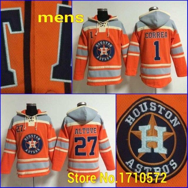 ccec149f9f0 Cheap Men s Houston Astros Sweatshirt 1 Carlos Correa 27 Jose Altuve Orange  Old Time Baseball Hoodies Jersey Stitched Embroidery