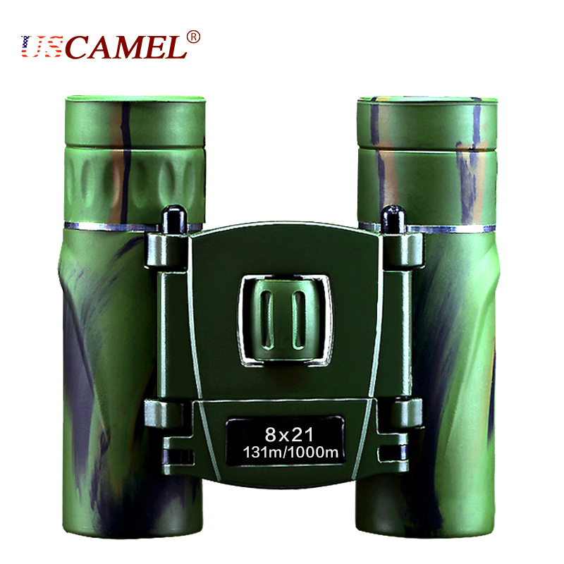 USCAMEL 8x21 Compact Zoom Binoculars Long Range 3000m Folding HD Powerful Mini Telescope Bak4 FMC Optics Hunting Sports Vision in Monocular Binoculars from Sports Entertainment