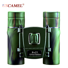 USCAMEL 8×21 Compact Zoom Binoculars Long Range 3000m Folding HD Powerful Mini Telescope Bak4 FMC Optics Hunting Sports Vision
