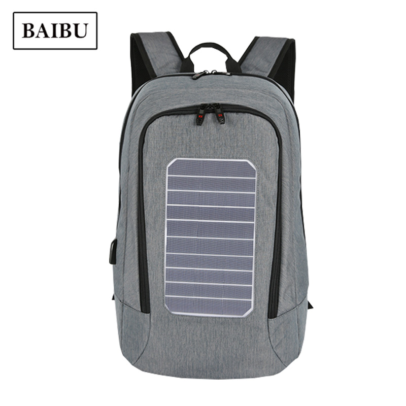 BAIBU Backpack Travel Fashion Solar Charging Multi-function Anti-theft Backpack Men Business Laptop Bagpack Gray School Bags men s backpack anti theft usb charging travel backpack waterproof nylon unisex school bags for female laptop business backpack
