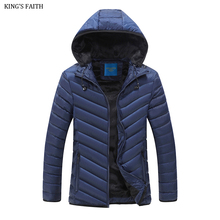 King's Faith Brand Men's Hood Warm Jacket Windroof Casual Slim Fit  Outerwear Thick Coat Men Parka Fashion 1758-2