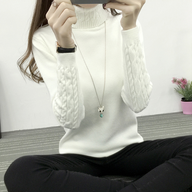 5b2e2876672 2018 women s Autumn Winter wool sweaters plus size ladies turtleneck  knitted pullovers female white full sleeve