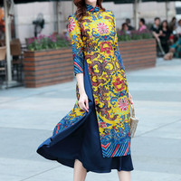 New Traditional Slim Dress Vietnam Ao Dai Chinese Court Retro Printing Qipao Long Dresses Robe Chinoise Modern Cheongsam Aodai