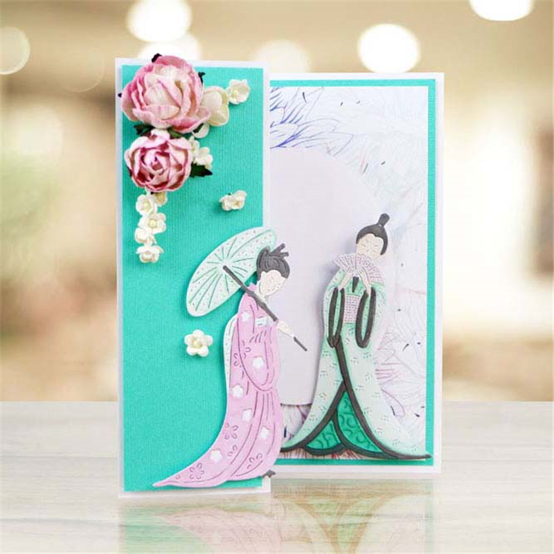 YaMinSanNiO Japanese Lady Dies Decor Metal Cutting Craft Die Cut New 2019 Scrapbooking Card Making Embossing DIY in Cutting Dies from Home Garden