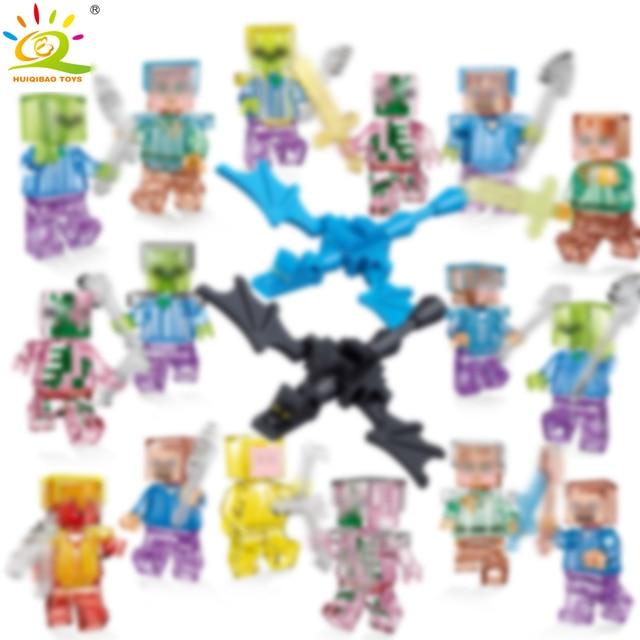 HUIQIBAO Toys Single Sale Minecrafted mini Zombie Steve Dragon Figure Building Blocks City soldier Legorreta Bricks for children