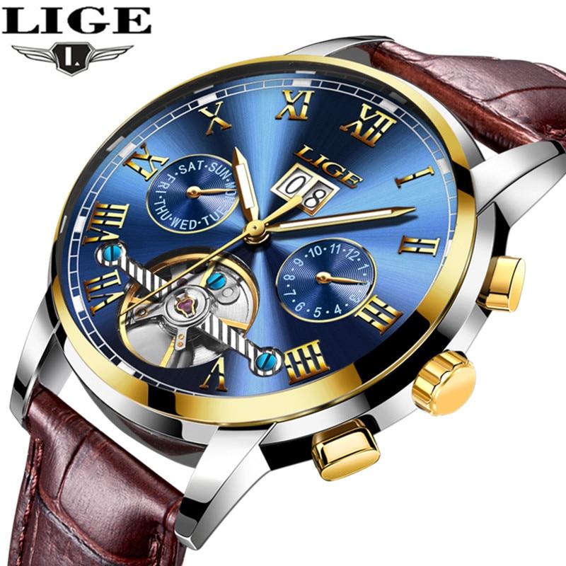 LIGE Waterproof Automatic Mechanical Watch Men Leather Strap Business Mens Watches Top Brand Luxury Casual Sport Wristwatch еврон софт простыни впитывающие super 60х90см 30шт