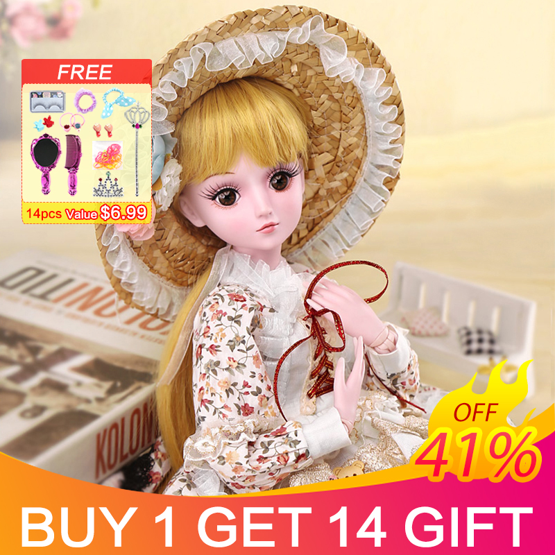 UCanaan 19 Ball Joints BJD SD Dolls with Clothes Outfit Shoes Wig Hair Makeup for Girls