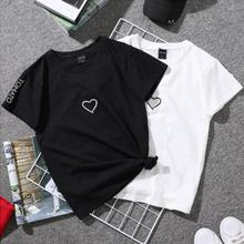 Fashion Embroidery Shirt Short Sleeve For girl Women Love Heart Letter Printed T-Shirt Casual White