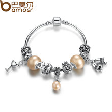 BAMOER Hot Sale Romantic Bracelets Silver Plated Pendant Bracelets with Wineglass Beads Girl Bracelets Accessories PA3074