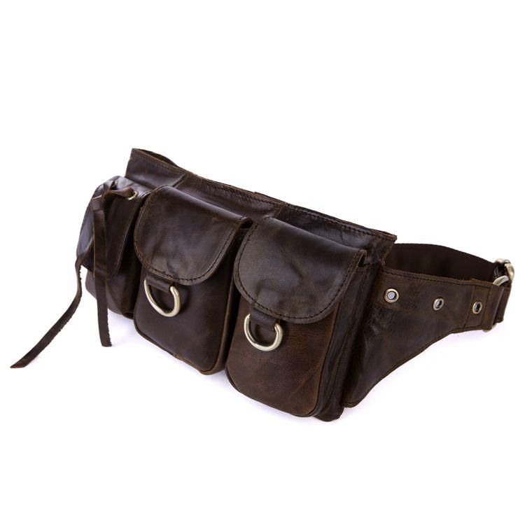 Nesitu Vintage Brown Cowhide 100% Guarantee Real Skin Female Male Belt Bag Genuine Leather Women Men Waist Bags M3014