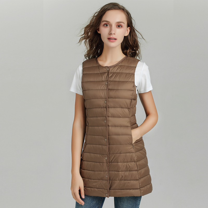 New 2019 Spring Women Long Vest Slim Sweet Vest Ultra Light   Down   Vest Jacket Sleeveless   Coat