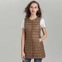 New 2019 Spring Women Long Vest Slim Sweet Vest Ultra Light Down Vest Jacket Sleeveless Coat