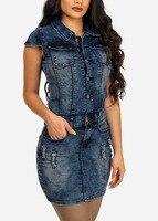 Wendywu Women Jeans Dress 2018 Summer Mini Sexy Hip Denim Dress Slim Casual Bodycon Tunic Dresses Women Clothing