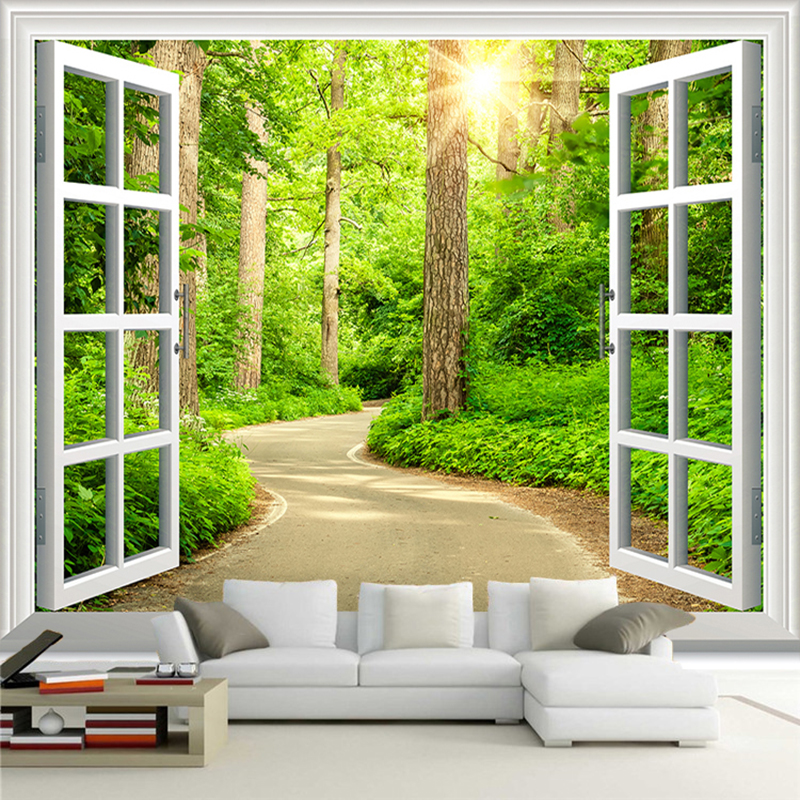 Custom Photo Wallpaper HD Green Fresh Path Sunshine Forest Nature Landscape 3D Wall Mural Living Room TV Sofa Backdrop Wallpaper