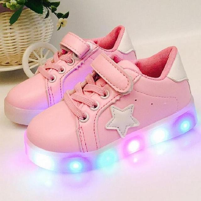 Crianças sapatos com luz 2016 outono bebê meninos meninas sapatos chaussure enfant led moda infantil meninos respiráveis tênis EU21-30