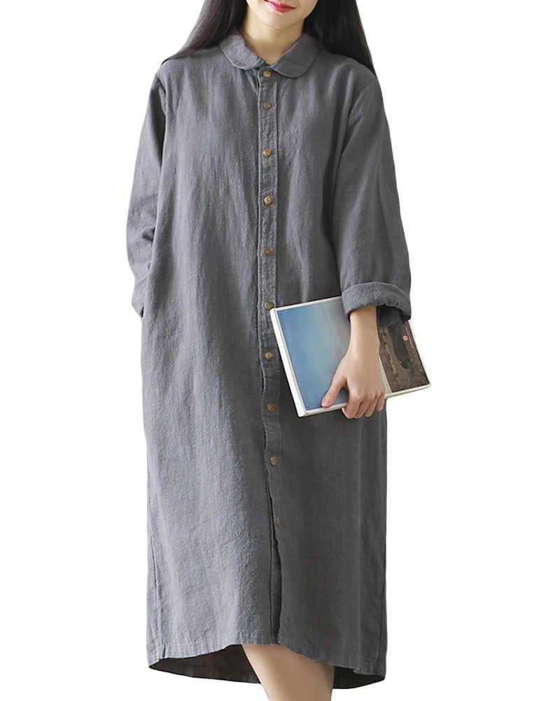 d9a42b5852f Autumn Women Plus size Linen Dress Retro Cotton Shirt Dress Turn-Down  Collar Long Sleeve