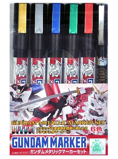 MR-HOBBY GMS121 Gundam Metallic Marker Set, 6pcs Gundam Marker Pen, цены онлайн