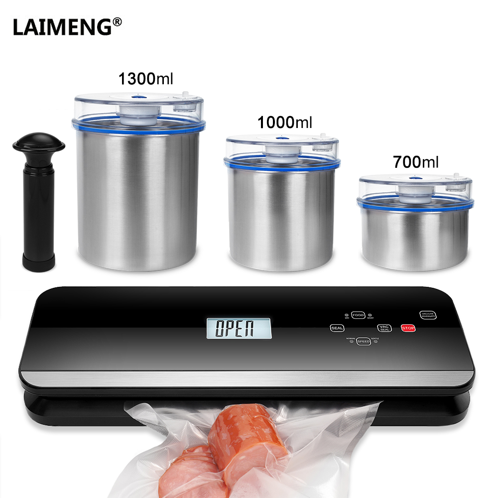 LAIMENG Automatic Vacuum Packer Vacuum Food Sealer Machine Food Grade Canister Vacuum Bags For Packing Packaging Kitchen S224