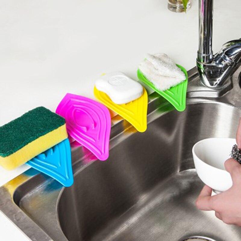 Kitchen Sponge Soap Holder Shelving Rack Waterfall Drain Plastic Storage  Shelves Leaf Shape Bath Sponge Soap Dish Plate Tray In Storage Holders U0026  Racks From ...