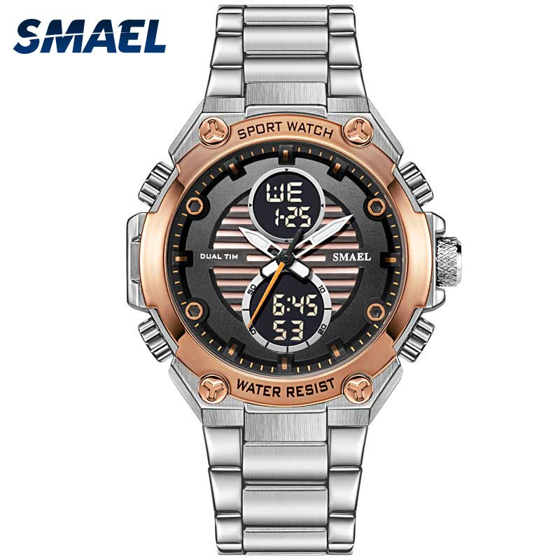 SMAEL Watch Men Digital Alloy Watch Gold Big Dial Sport Luxury Brand Clock Men 30M Waterproof1372 Men Electronic Watch Mechanism