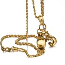 Granny Chic 6ocm Men Necklace & Pendant Gold Stainless Steel Chain Pair Boxing Glove Charm Fashion Sport Fitness Jewelry