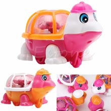 1Pc New Lovely Infant Baby Educational Pull Emitting Little Turtle Light Kid Toy W25