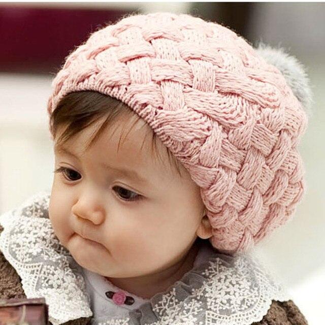 Vente chaude 1 pc 2017 Nouveau Automne Hiver Fille Bébé Chapeau Bonnet  Style Enfants Crochet À acf0f49bdc1