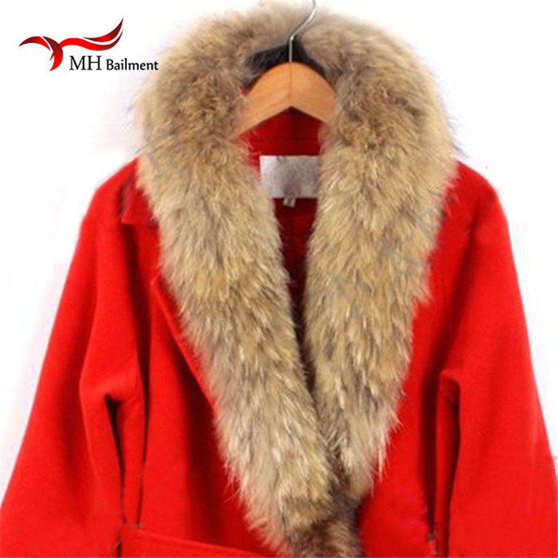 Real Fur Collar 100% Genuine Raccoon Fur Scarf Multiple Sizes Winter For Women Hot Selling Scarf, Hat & Glove Sets L#27