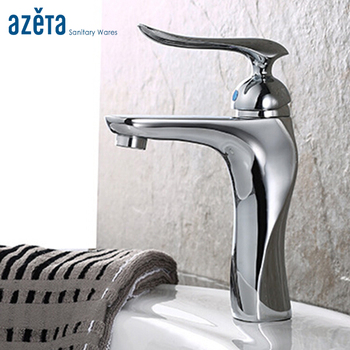 Bathroom Contemporary Style Faucet Brass Chrome Plated Single Handle Ceramic Cartridge Cold and Hot Water Basin Tap AT3316