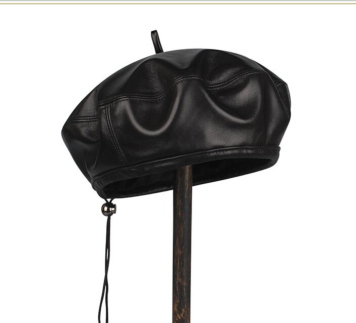 High Quality Genuine Leather Sheepskin Leather Berets For Men Duckbill Winter Hat For Male Warm Hat Solid Black Russian Hat
