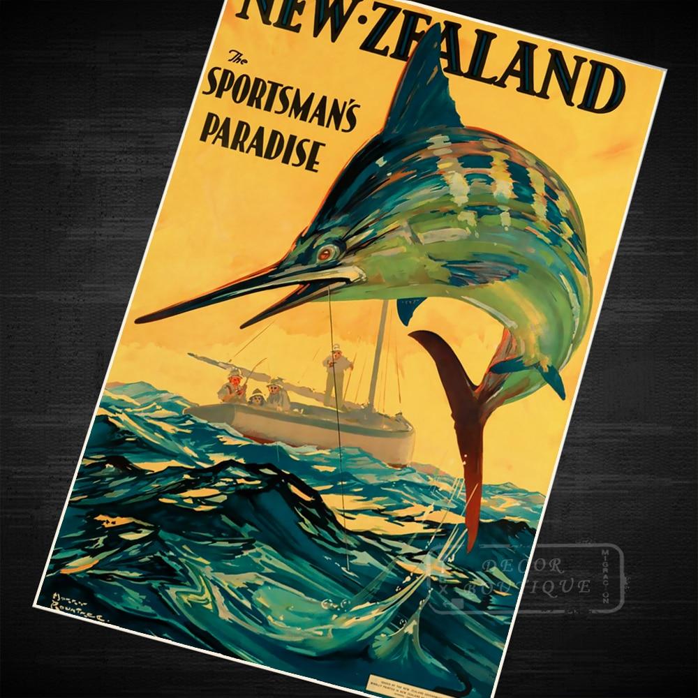 Sportsman\'s Paradise New Zealand NZ Vintage Retro Canvas Painting ...