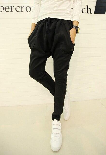 2015 Spring and Autumn fashion work men's harem pants black / gray solid color tracksuit pants men