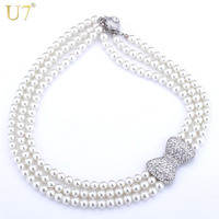 Lovely Bowknot Necklace Women Fashion Jewelry Sale 2014 Trendy Platinum Plated Rhinestone Multilayer Withe Pearl Necklaces