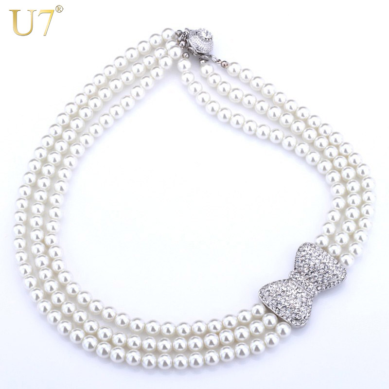 U7 Lovely Bowknot Necklace Women Fashion Jewelry Trendy Rhinestone Multilayers Simulated Pearl Necklaces N345 cute women s rhinestone faux pearl decorated necklace
