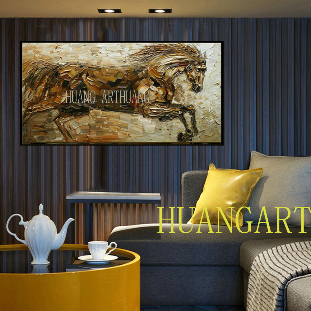 Free Shipping High Quality Hand painted Abstract Horse Oil Painting On Canvas Hand made Beautiful Horse Painting For Living Room in Painting Calligraphy from Home Garden