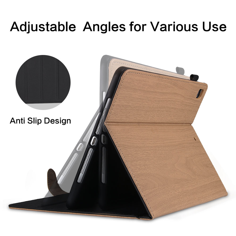 For iPad 10 2 2019 Smart Cover Wood Pattern PC Flip Case for iPad 7th Generation
