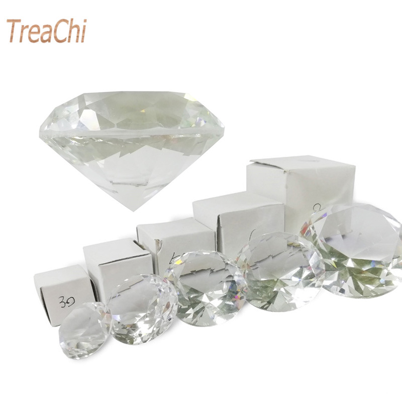 Crystal Clear Paperweight Faceted Cut Glass Giant Diamond Jewelry Decor Craft title=