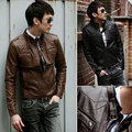 freeshipping new arrival fashion multi-pocket slim mens casual leather jackets brown coffee black 3 colors M TO XXL