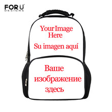 FORUDESIGNS Customize Your Name Logo Image Backpack For Teenage Men Women Travel Bags Children School Kid Book Bag