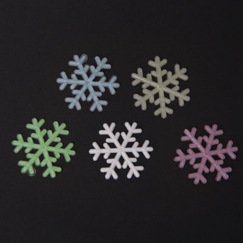 50Pcs 3D Luminous Snowflake Glow In The Dark Light Home Garden Fluorescent Decal 1