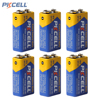 PKCELL 6pcs 9V 6F22 Prismatic Batteries Single-use Battery Dry Sex Carbon Zinc Battery for Digital Cameras