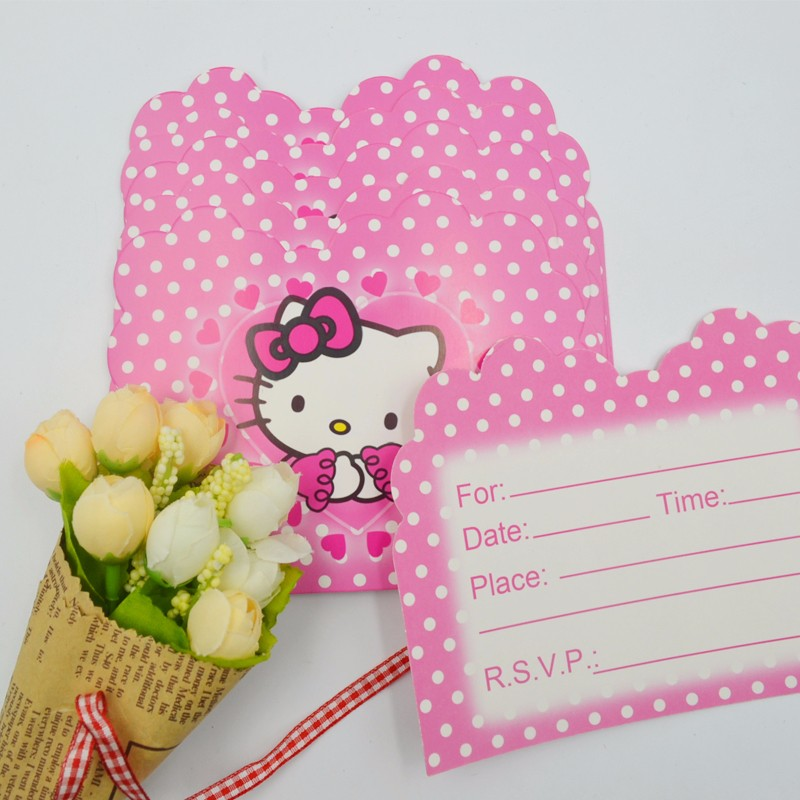 Hello kitty party cards kitty cards 10pclot baby shower cartoon theme decoration kids favors disposable paper invitation card birthday party stopboris Choice Image