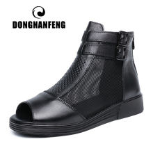 DONGNANFENG Women Mother Ladies Female Cow Genuine Leather Shoes Sandals Boots Ankle Mesh Summer Cool Zipper Size 35-41 SKS-9703