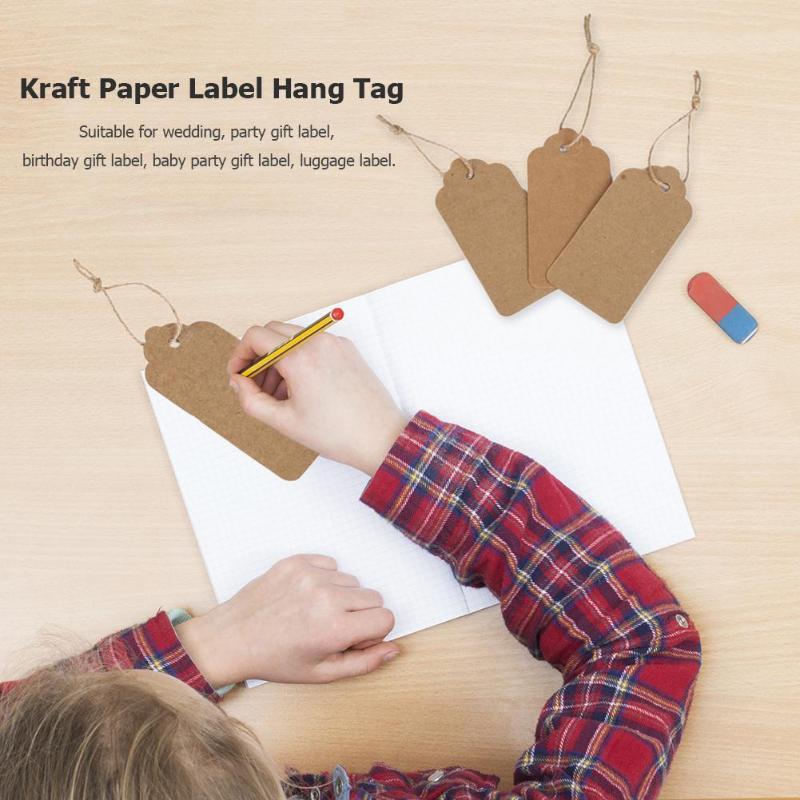 100Pcs Tag Store Kraft Paper Blank DIY Wedding Gift Hemp Rope Price Label Hang With 50m Rope