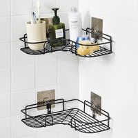 Corner Bathroom Shelves Storage Wall Mounted Durable Shower Caddy Organizer Rack for Kitchen Toilet Shower Dorm Adhesive Hook