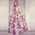 Модное женское роскошное платье красного цвета с коротким рукавом с круглым вырезом с цветочным принтом, платья для летней вечеринки, новинка 2015