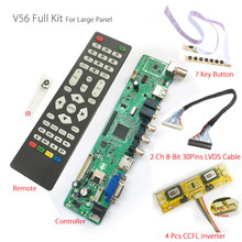 V56 Universal LCD TV Controller Driver Board PC/VGA/HDMI/USB Interface+7 key button+4 lamp inverter+2ch 8-bit 30pin lvds cable(China)