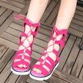 B&D 2016 New Fashion Girls Sandals Kids Children's Summer Shoes Hollow Boots Open Tole Beach Shoes For Girls Peach/Brown/Black