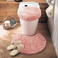 3pcs/Set Toilet Seat Cover Toilet Lid Cover Non Slip Toilet Bathroom Pad Floor Mat Long Velvet Rug Lid Toilet Cover